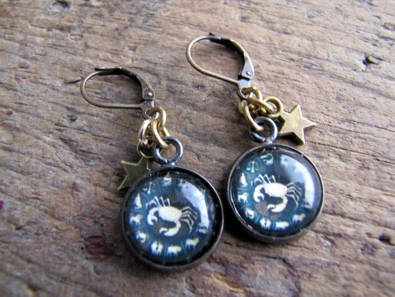 Cancer Earrings, Zodiac Earrings, Astrology Jewelry