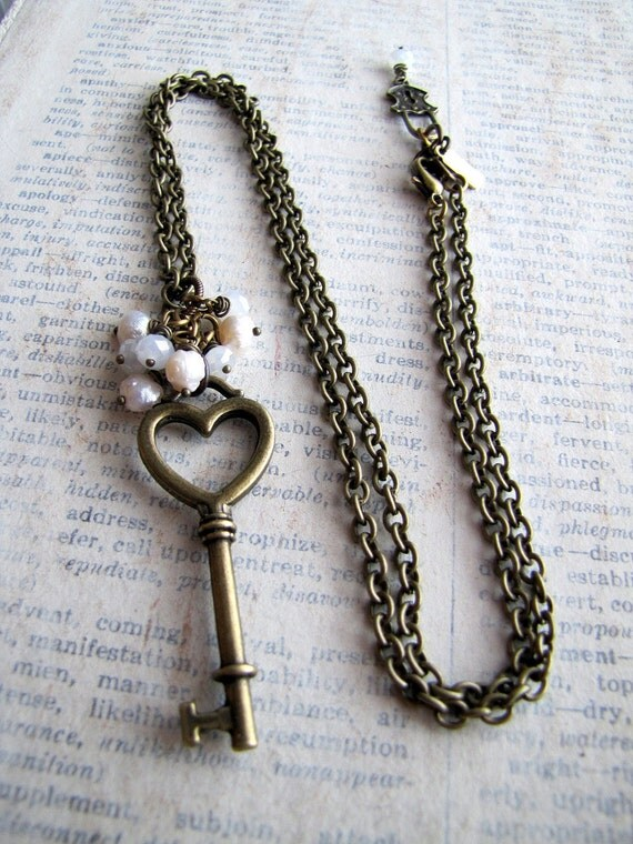 White on White Heart Skeleton Key Necklace