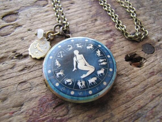 Virgo Locket, Zodiac Jewelry, Virgo Necklace