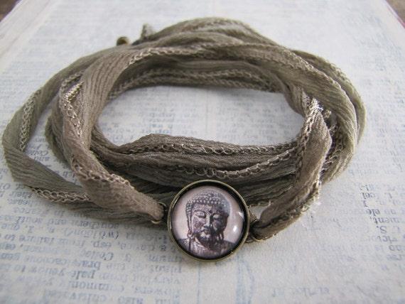 SALE Buddha Bracelet, Yoga Wrap Bracelet, Silk Wrap Braclet