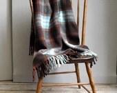 Vintage Wool Plaid Blanket Throw