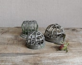 Vintage Flower Frog, Collection of 3 Metal Cage Frogs
