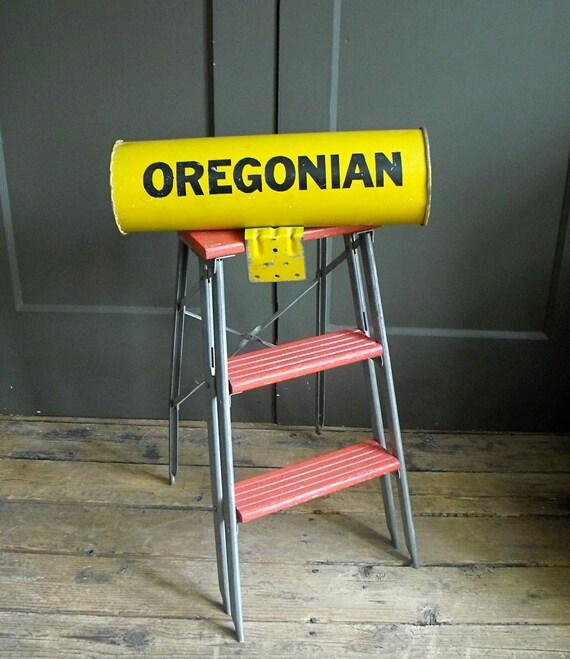 Vintage Industrial Metal Newspaper Box Oregon