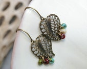 Leafy Palm - Antique Brass Leaves Earrings - 1/2 PRICE SALE