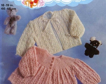Vintage Baby's Matinee Coat's 2 Styles (With Yoke and Ribbon Trimmed) Knitting Pattern, 1960 (PDF) Pattern, Patons 1178