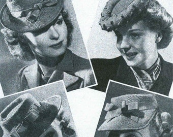 Vintage Ladies Hats in 3 Styles and a Cap, Knitting Pattern, 1940/1950 (PDF) Pattern, Bestway 1245
