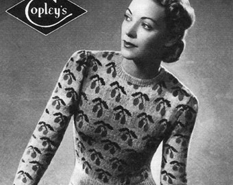 Vintage Ladies Jumper, Knitting Pattern, 1940/1950 (PDF) Pattern, Bestway 710