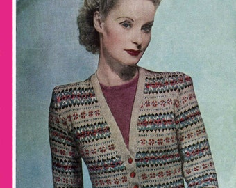 Vintage Ladies Fair Isle Cardigan, Knitting Pattern, 1940/1950 (PDF) Pattern, Bestway 1491