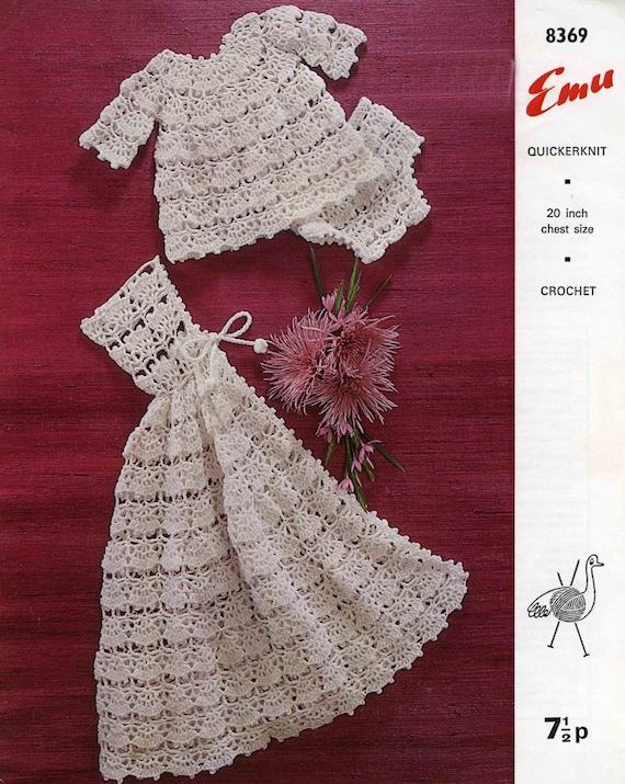 Vintage Babys Angel Top, Pants and Carrying Cape, Crochet Pattern, 1960 (PDF) Pattern, Emu 8369