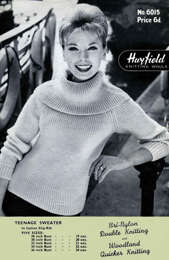 Vintage Teenage Sweater Knitting Pattern 1950/1960 PDF