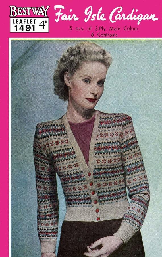 Vintage Ladies Fair Isle Cardigan Knitting Pattern 1940/1950