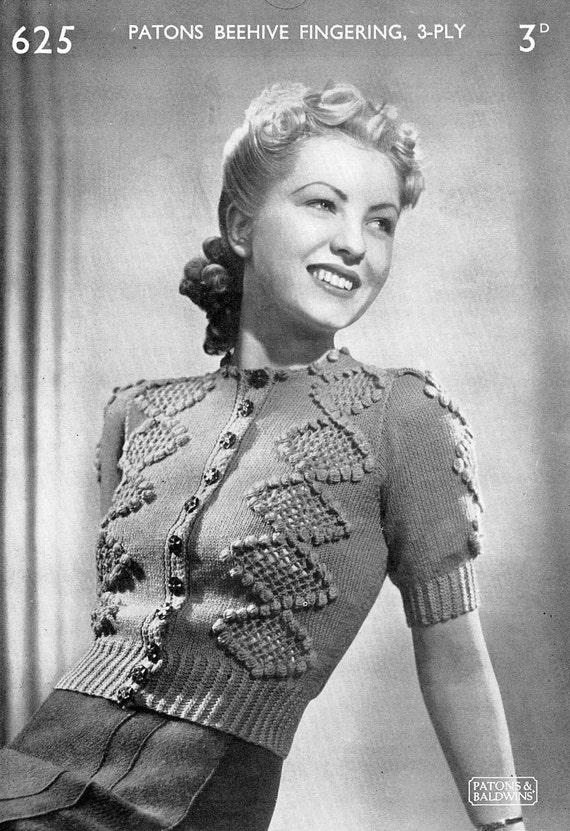 Vintage Ladies Cardigan Knitting Pattern 1940/1950 PDF