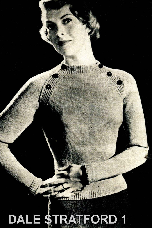 Ladies Raglan Jumper Knitting Pattern : Vintage Ladies Jumper with Raglan Sleeve Knitting Pattern
