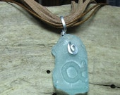 Genuine Sea Glass Necklace Seafoam Green Blue
