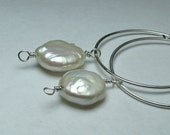 Freshwater pearl hoop earrings non-pierced clip on alternatives slip ons