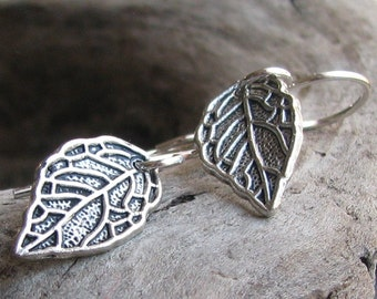 Simple silver leaf earrings