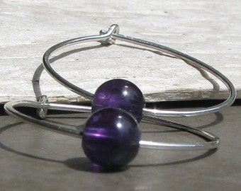 Amethyst Sterling Silver Wire Hoop Earrings Purple February Birthstone