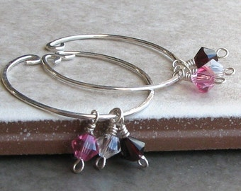 Birthstone earrings, clip on hoop, sterling silver jewelry