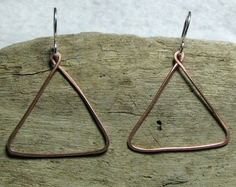 Triangle shaped earrings copper and sterling silver mixed metals