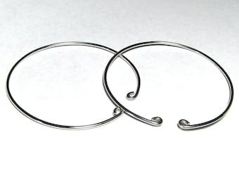 2 inch non-pierced sterling silver slip on hoop earrings alternative unpierced style