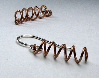 Mini springs mixed metal copper wire and sterling silver modern