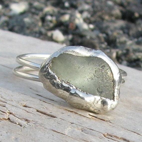 Genuine Sea Glass Ring - Seafoam Blue Green