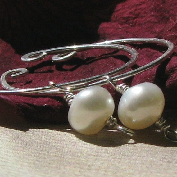 Freshwater pearl non-pierced slip on hoop earrings
