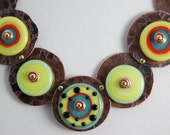 Neon Lampwork Disk Necklace with Copper