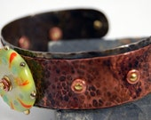 Citrus Lampwork Bead on Copper Cuff
