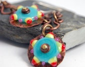 Party Lampwork Bead and Copper Earrings