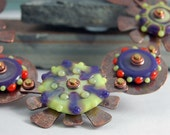 Grape, Lime and Orange Lampwork Disk Bead and Copper Necklace