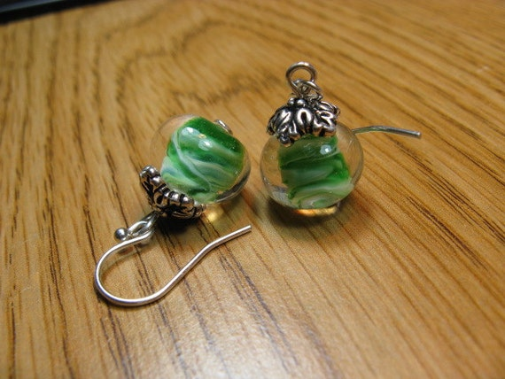 Beaded Earrings - Green Swirl Glass Earrings