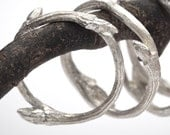 organic sterling silver twig stacker ring: Elvish band - RedSofa jewelry