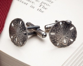 mens sterling silver cufflinks - Sand Dollar cufflinks - White Sands - RedSofa jewelry