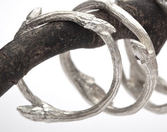 organic sterling silver twig stacker ring: Elvish band - RedSofa jewelry