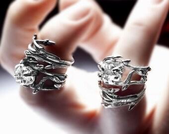 Herkimer Diamond natural crystal statement ring - dark silver stacking twig rings
