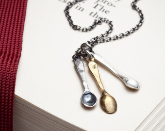 Peches Mignons: a spoonful of guilty pleasures, sterling silver and bronze spoons, RedSofa jewelry
