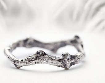 mens sterling silver ring, rough coral branch inspired wedding band - Shipwrecked in Heaven