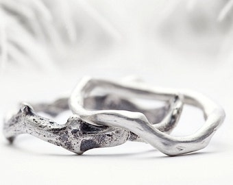 silver wedding band set, coral branch inspired sterling silver rings - Shipwrecked in Heaven