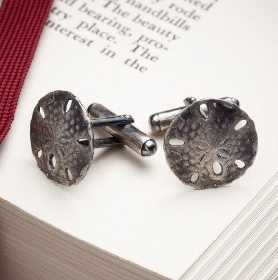 mens sterling silver cufflinks - Sand Dollar cufflinks - White Sands - RedSofa jewelry
