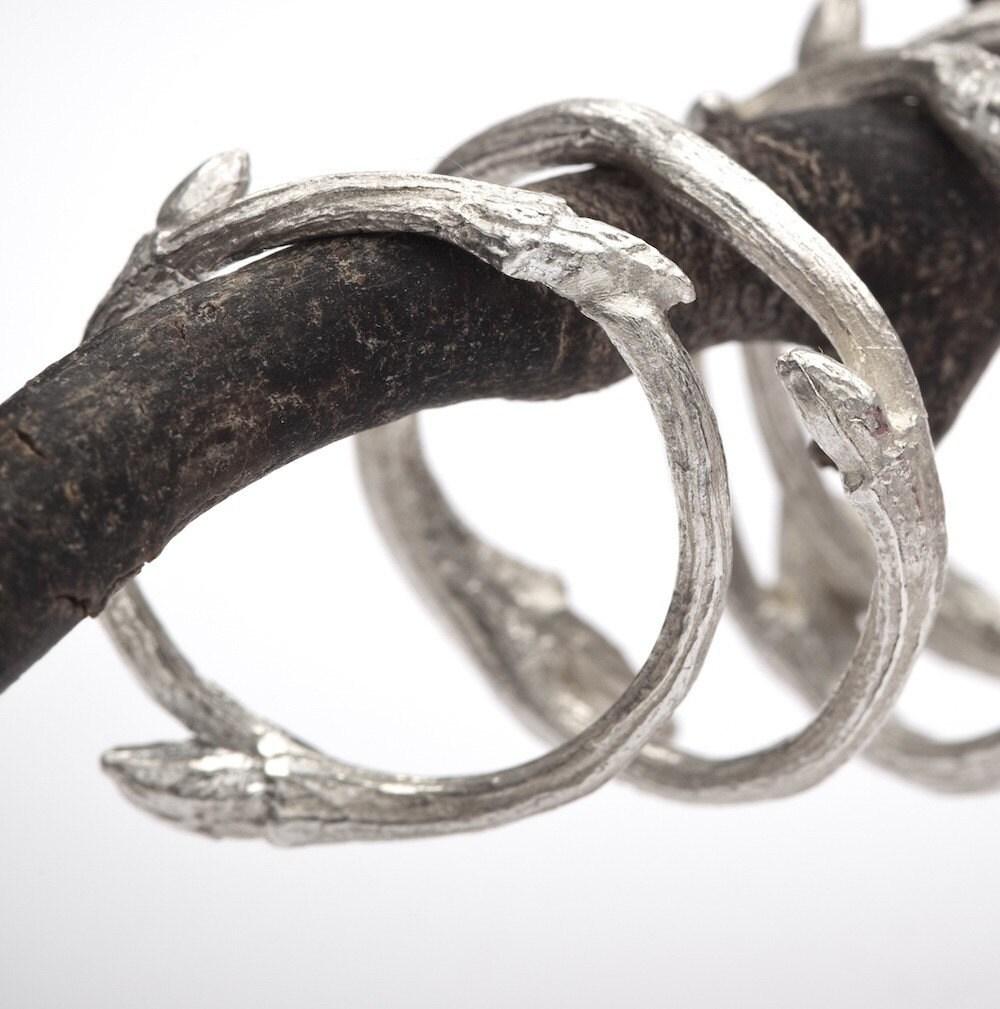 Stacker Bands: Organic Sterling Silver Twig Stacker Ring: Elvish Band