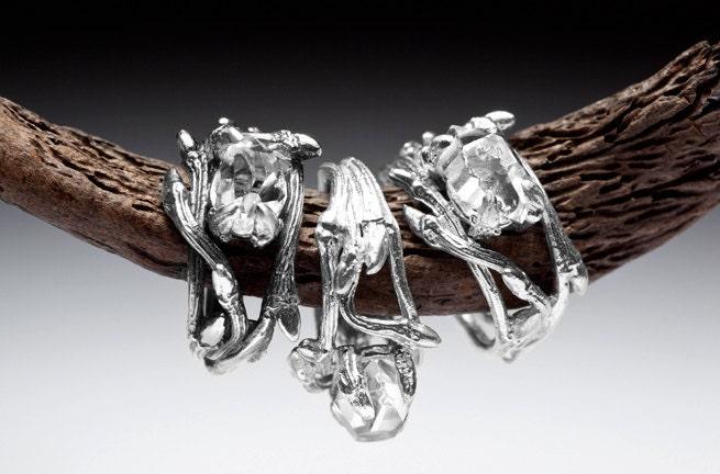 elvish herkimer diamond ring twigs and natural crystal stone