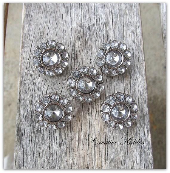 Clear Rhinestone Flower Button 18mm Acrylic Rhinestone Buttons / Hair Flower Center Wedding Embellishments x 5