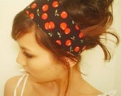 BLACK CHERRY headband Vintage 50s red cherries Rockabilly Pinup doll sweet fruit dessert