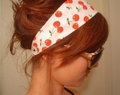 WHITE CHERRY red green leaf Cherries pin up girl Rockabilly mod HEADBAND pinup