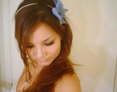 BABY BLUE BOW Iridescent head hair band tie hemp cord yarn Alice in Wonderland  headband by Mixbaby