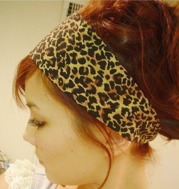 LEOPARD LARGE animal print Wide headband dress wrap Cheetah animal hair head band jungle
