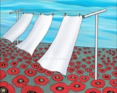 3 sheets in the wind - signed digital illustration art print 8X10 inch, laundry room illustration red white blue clothesline poppies flowers