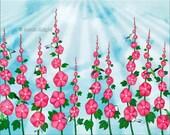 hummingbirds & hollyhocks - digital illustration art print 8X10 inches, birds flowers aqua blue magenta green whimsical