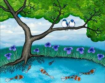the pond - signed digital illustration art print by Sarah Knight 8X10 inch, tree swallows bird koi water nature picture